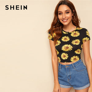 SHEIN Sunflower Print Crop T Shirt Women Clothing Summer Slim Fit Round Neck Tshirt Casual Short Sleeve Black Ladies Tops