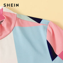 Load image into Gallery viewer, SHEIN Mock-Neck Color-Block Patchwork T Shirt Women Clothes 2019 Summer Casual Slim Fit Tshirt Stand Collar Colorful Ladies Tops