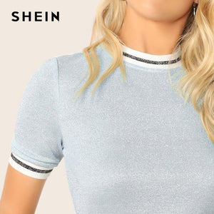 SHEIN Glitter From Fitting Ringer Tee Spring Summer Autumn Slim Fit Blue Stand Collar Striped T Shirt Women Summer T-shirts