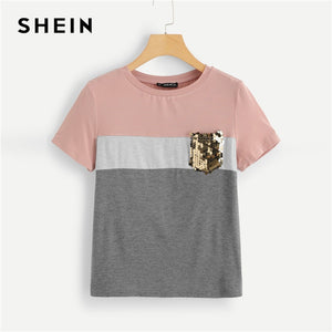SHEIN Multicolor Color Block Cut and Sew Sequin Pocket T Shirt Women Short Sleeve Casual Tee Summer Workwear Top T-shirts
