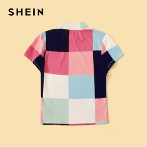 SHEIN Mock-Neck Color-Block Patchwork T Shirt Women Clothes 2019 Summer Casual Slim Fit Tshirt Stand Collar Colorful Ladies Tops