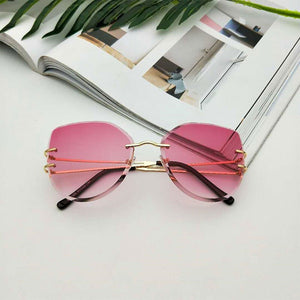 Oversized Rimless Cat Eye Sunglasses Fashion Gradient Brown Cut Lens Shades For Women Metal Clear Sunglasses 2019 Luxury