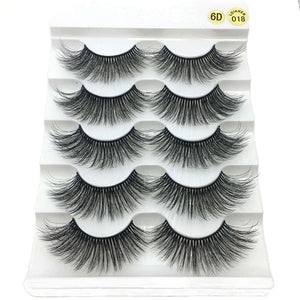 5 Pairs 2 Styles 3D Faux Mink Hair Soft False Eyelashes Fluffy Wispy Thick Lashes Handmade Soft Eye Makeup Extension Tools