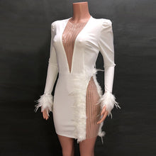 Load image into Gallery viewer, Kricesseen Sexy Feather Trim Mesh Patchwork Mini Dress New Spring Women Deep V Neck Bodycon Chirstmas Party Club Dress Vestidos