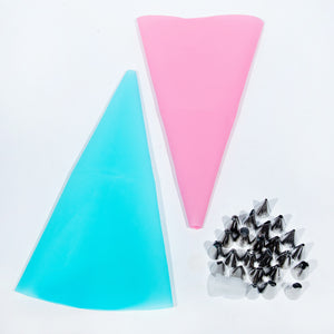 26pcs Silicone Pastry Bag Tips Kitchen DIY Icing  Cream Reusable Pastry Bags Nozzle Set Cake Decorating Tools