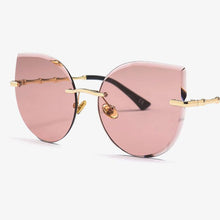 Load image into Gallery viewer, Fashion Oversized Frameless Sunglasses Women Rimless Cat Eye Sun Glasses Alloy Legs Crystal Lens Luxe Brand Designer Big Shades