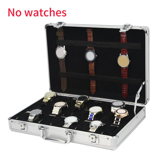 Anti Scratch 24 Grid Modern Dustproof Aluminum Alloy Collection Jewelry Storage Gifts Suitcase Portable Durable Watch Box
