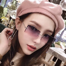 Load image into Gallery viewer, Fashion Rimless Sunglasses Women 2019 Trendy Small Rectangle Sun Glasses Summer Traveling Style UV400 Gold Brown Shades for men