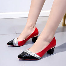 Load image into Gallery viewer, BONJOMARISA New Unique Patchwork Fretwork Elegant Pointed Toe Shallow Pumps Women High Heels Ol Shoes Woman