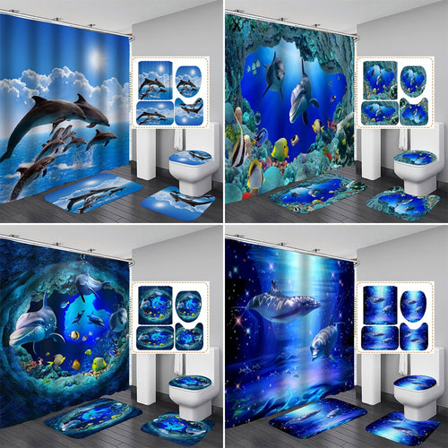 3D Ocean Design Dolphin Waterproof Fabric Bathroom Curtain Shower Curtains Set Anti-skid Rugs Toilet Lid Cover Bath Mat