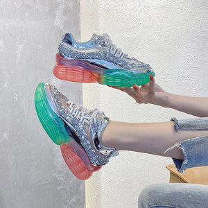 Women Chunky Sneakers Platform INS Fashion Silver Casual Old Dad Shoes Sports Female Running Lace Up Vulcanized Shoes Woman
