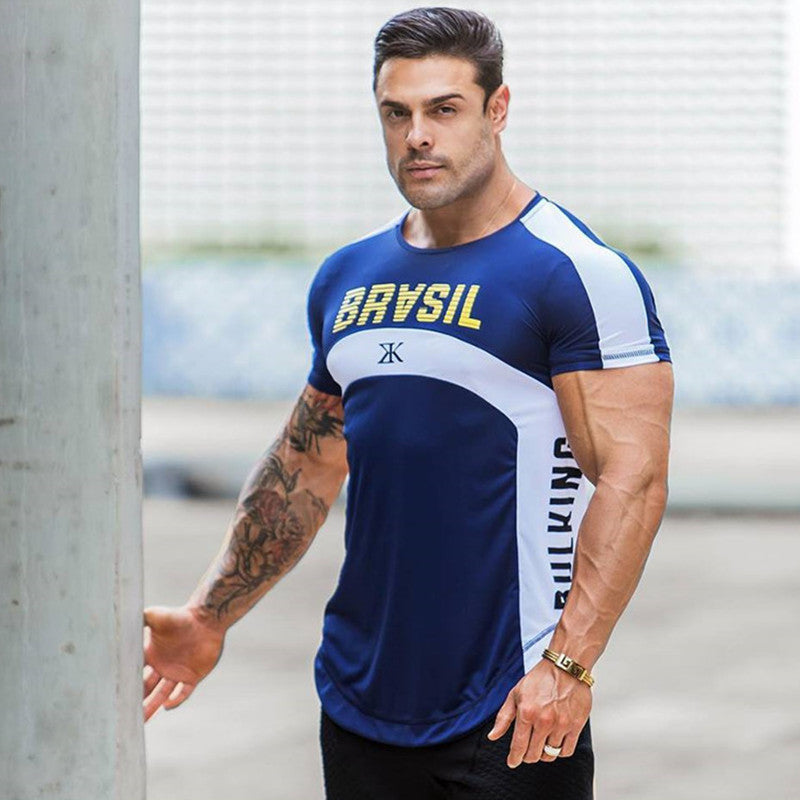 Fashion New Fitness Mens t-shirt Bodybuilding Workout Gyms joggers Quick-Drying Casual Stitching Tees Tops Summer clothing