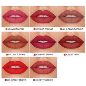 BANXEER Lipgloss Matte 8 Colors Lip Gloss Velvety Lipstick Liquid Matte Waterproof Lip Tint Full & rich Sexy Lip Makeup Cosmetic