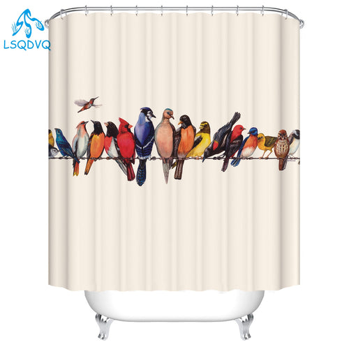 Lovely Bird Pet Bulldog 3D Shower Curtains Art Dog Printing Bathroom 3D Shower Curtains Waterproof Polyester Fabric Bath Curtain