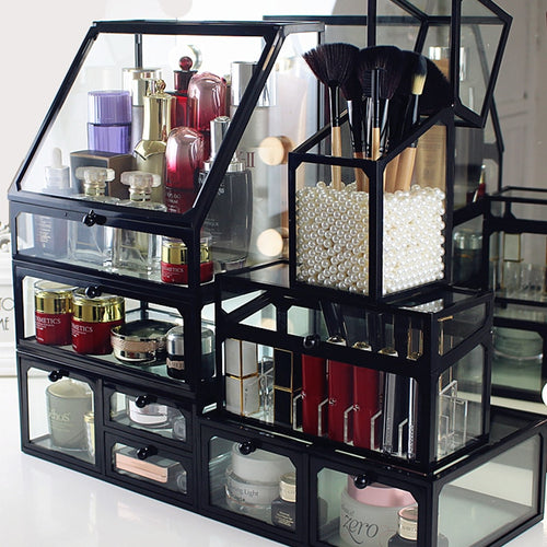 Glass Cosmetics Storage Box Transparent Desktop Lipstick Skin Care Products Finishing  Rack New