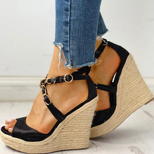 SARAIRIS 2020 Customized Best Quality Summer Sandals Woman Leisure Platform Wedge High Heels Sexy Party cross-strap Women Shoes