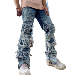 DiZNEW Custom Embroidered American Brand Style Ripped Jeans Men