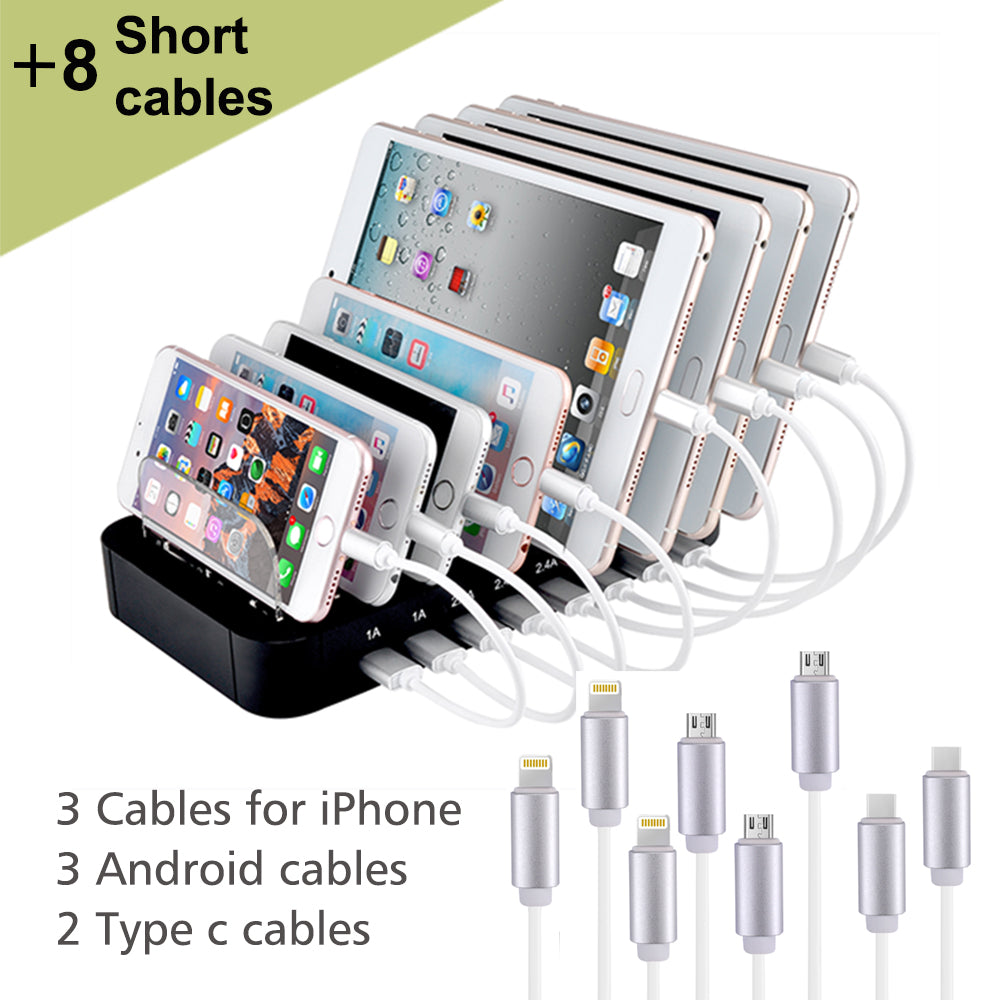 Evfun USB Charging Station 8 Port Charger Station Multi Device Charger Universal for Cell Phone Tablet Smartphone