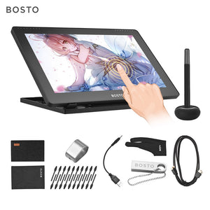 BOSTO 16HD 15.6 Inch IPS Graphics Drawing Tablet Display Monitor 8192 Pressure Level with Rechargeable Stylus Pen 16GB USB Disk