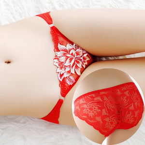 Women's Low Rise Panties Ladies Briefs Thong Female underpants Sexy Lingerie Peony Lace Underwear Intimates Seamless Underwear