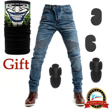 Load image into Gallery viewer, 2020 New 718 Motorcycle Pants Men Moto Jeans Protective Gear Riding Touring Motorbike Trousers Motocross Pants Blue/Black Pants