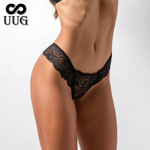 UUG Ladies Low Waist Transparent Briefs Sexy Women Bowtie Panties Female Underwear Floral Lace Women Panties Breathable