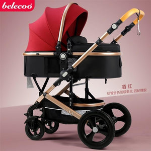 Belecoo high landscape baby stroller 2 in 1 stroller two way baby pram portable newborn pram folding kid car send gifts