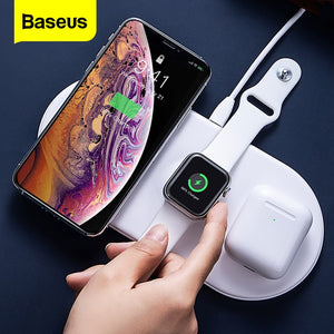 Baseus 3 in 1 Qi Wireless Charger For iPhone 11 Pro Xs Max Fast Charging For Airpods pro Wireless Charge Pad For iWatch 5 4 3 2