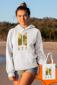 Angemiel Wear BTS Korean White Women 'S Hooded Sweatshirt Bags Kombin