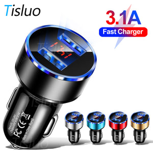 3.1A Dual USB Car Charger With LED Display Universal Mobile Phone Car-Charger for Xiaomi Samsung S8 iPhone 6s 7 8 Plus 11 Tablet