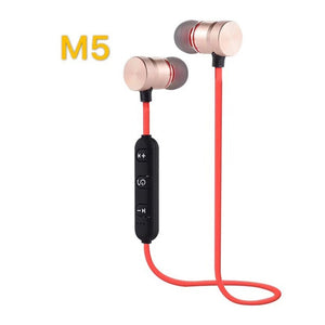 M5 Bluetooth Earphone Sports Neckband Magnetic Wireless Headset Stereo Earbuds Music Metal Headphones with Mic for Moblie Phones
