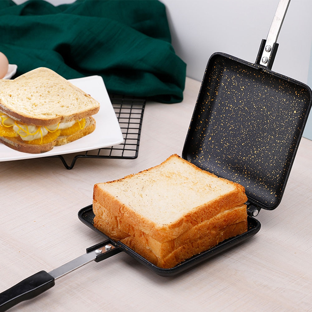 Sandwich Mold Waffle Easy Clean Kitchen Tool Bread Barbecue Plate Toast Frying Pan Home Double Side Non-stick Aluminum Alloy