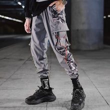 Load image into Gallery viewer, Color Block Pocket Patchwork Cargo Joggers Men Graffiti Hip Hop Letter Print Harem Pants Mens Casual Dance Trousers Sweatpants
