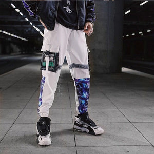 Color Block Pocket Patchwork Cargo Joggers Men Graffiti Hip Hop Letter Print Harem Pants Mens Casual Dance Trousers Sweatpants