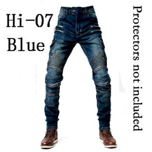 Load image into Gallery viewer, 2019 New Khaki / Black Blue Motorcycle Pants Men Moto Jeans Zipper Protective Gear  Motorbike Trousers Motocross Pants Moto Pant