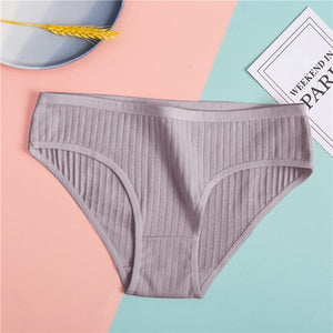 Women's Underpants Soft Cotton Panties Girls Solid Color Briefs Striped Panty Sexy Lingerie Female Underwear Women Intimate M-XL