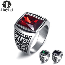 Load image into Gallery viewer, Jiayiqi Square Zircon Stone Men Ring Vintage Titanium Stainless Steel Seal Rings Punk Hiphop Male Finger Jewelry Wholesale Anel