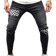Load image into Gallery viewer, Men Ripped Skinny Biker Hole Jeans Destroyed Frayed Slim Fit Denim Long Pants Stretch Pants