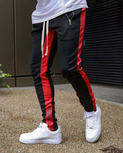 Load image into Gallery viewer, Men Black Casual Track Pants Fashion Hip Hop Fitness Streetwear Trousers Striped Drawstring Joggers Sweatpants Pantalon Homme