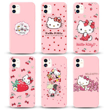 Load image into Gallery viewer, Cute cat Phone Case for Apple iphone 11 pro Max 8 7 6S Plus Mobile cover Cartoon pink Hello kitty Custom for iphone X XS MAX XR