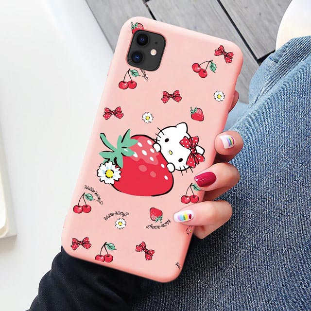 Cute cat Phone Case for Apple iphone 11 pro Max 8 7 6S Plus Mobile cover Cartoon pink Hello kitty Custom for iphone X XS MAX XR