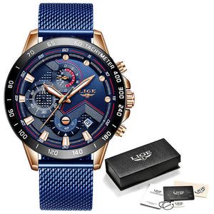 LIGE Fashion Mens Watches Top Brand Luxury WristWatch Quartz Clock Blue Watch Men Waterproof Sport