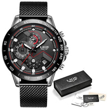 Load image into Gallery viewer, LIGE Fashion Mens Watches Top Brand Luxury WristWatch Quartz Clock Blue Watch Men Waterproof Sport