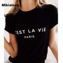 Load image into Gallery viewer, T Shirt Women 2019 Summer Camiseta Mujer Short Sleeve Poleras Mujer Top Tee Shirt Femme Paris Printed Tshirts Cotton Women Tops
