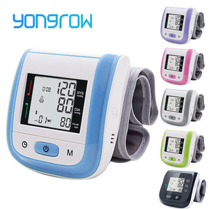 Yongrow Medical Digital Wrist Blood Pressure Monitor Heart Rate Pulse Meter Measure Sphygmomanometer PR