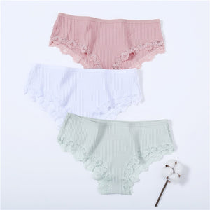 2020 Woman Cotton Underwear Sexy Lace Lingerie Girls Hot Sale Female Underwear Ladies Underpants Soild Colors 5 Color M-XL