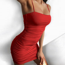 Load image into Gallery viewer, Solid Mini Sexy Dress Sheath Summer Sexy Women Dress Off Shoulder Backless Club Party Sexy Wrap Dress Spaghetti Strap Dresses