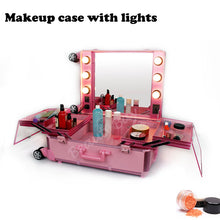 Load image into Gallery viewer, Aluminum frame makeup artist beauty case with lights (without legs), Lighted cosmetic vanity trolley case