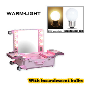 Aluminum frame makeup artist beauty case with lights (without legs), Lighted cosmetic vanity trolley case