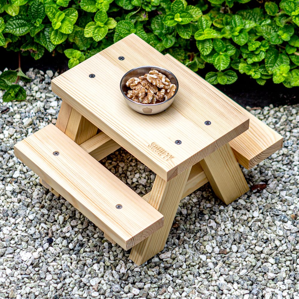 Unmounted Squirrel Feeder Picnic Table with Feeding Cup on Ground